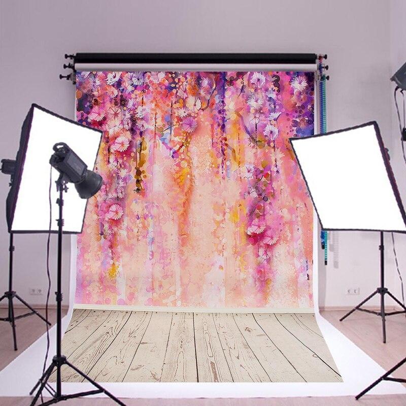 Mayitr 1pc Purple Flowers Tree Floor DIY Kids Photography Backdrop Wall Silk Poster Background 900x600mm