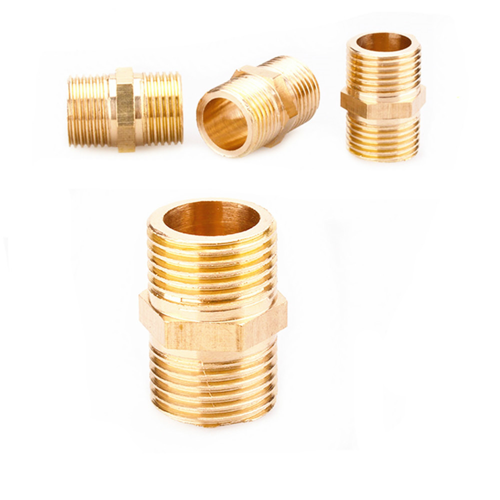 """10Pcs Brass Pipe Hex Nipple Fitting Quick Adapter 1//8/"""" BSP Male Thread Connector"""