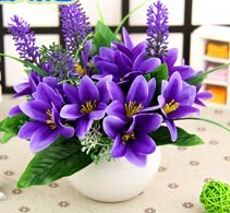 Mini Purple Flowers Simulation Artificial Lilies Flowers Potted Wedding Party Home Office School Decor Flower Gift With Pot(China)