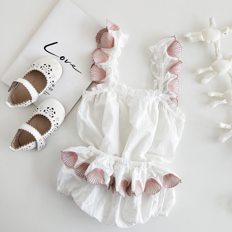 Girls Summer 2pcs Set Toddler girls summer clothing Set Embroidery Shell Pattern Cotton Summer Girls Set