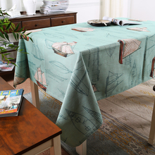 Mediterranean Style Boat Tablecloth Cotton Linen Printed Tablecloth Sea Customize Tablecloth