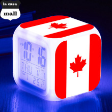 maple leaf watch Canadian flag LED Digital alarm clock reloj despertador de cabeceira Night Light Color Flash wekker reveil
