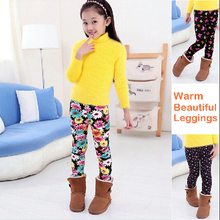 Winter Warm Children Leggings With Pictures And Beautiful Thicken Girls Pants Elastic Waist Fleece Leggings(China)