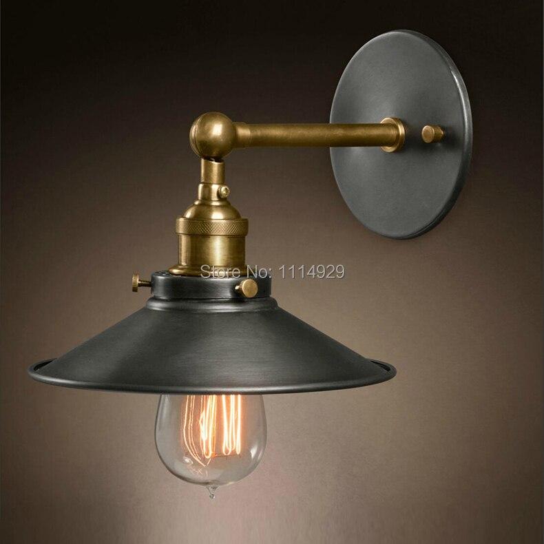 American Loft Industrial Wall Lamps Vintage Bedside Wall Light Metal 22cm Lampshade E27 Edison Bulbs 110V/220V<br><br>Aliexpress