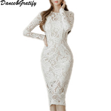 New Autumn Korean Style Women White Lace Office Work Wear Dress Elegant Casual Sheath Slim Bodycon Party Dresses(China)