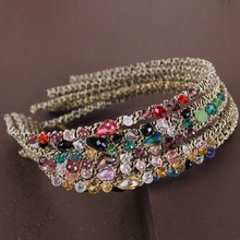 2017 Korean Fashion Crystal Rhinestone Hair Band for Women Hair Hoop Elastic Hair Ornaments Headdress Hair Accessories for Girls(China)