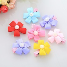 Fashion 2pcs Pet Hairpin Lovely Flower Bow Candy Pet Dog Cat Puppy Grooming Hairpin Hair Clip Dog Wedding Accessories