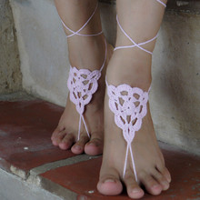 Pink crochet Barefoot sandals shoes, Bride, bridesmaids wedding shoes, victorian lace, sexy, Crochet anklet, beach shoes