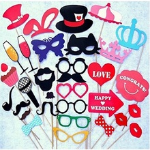 Photo Booth Props Wedding Party Decoration 34Pcs/Set New Cat Glasses Supplies Mask Mustache for Fun Favors Photobooth 2017 New