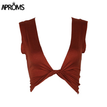 Aproms Elegant Wrap Tee Crop Tops Women 2017 Summer Deep V Neck Sleeveless Brown T-shirt Fashion Cropped Top for Women Clothing