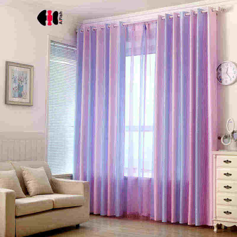 Magic Violet Rainbow Stripe Curtains Jacquard Gradient Printed Rustic Cortinas Wedding Boys Girls WP149C