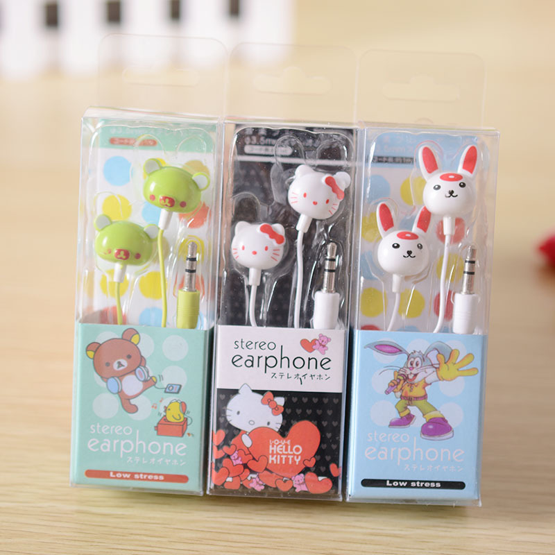 Student Cartoon in-ear Earphone Headset Cute Earphones Earbuds for iPhone Cellphone Mp3 for Android &iOS 3.5mm free shipping(China)