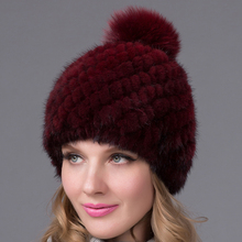 Fur Art Women's Winter Hats Lined Natural Real Fur Cap New Fur Knitted Cap Women Pineapple Hat Genuine Mink Fur Hat Female Winte