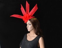Red fascinator Sinamay fascinator with silk flowers&sinamay loops for party wedding derby races.