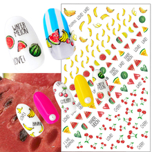 1 Sheets New Summer Fruit Nail Sticker 3D Cute Cherry/Banana/Watermelon DIY Stamping Manicure Decoration Nail Art Decals TRF248