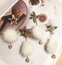 Korean fashion jewelry mink hair ball five-pointed star long earrings Clover hanging earrings 987