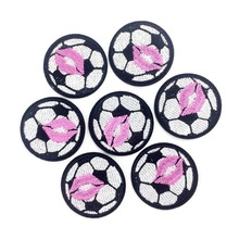 Embroidered Iron On Patches For Clothing Football With Kiss Appliques For Garment Iron On Stickers For Clothes DIY Sewing Badges