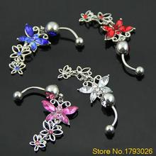 Girl's Three butterflies Pendant Ball Button Barbell Bar Belly Chain Navel Ring Body Piercing 4T7A