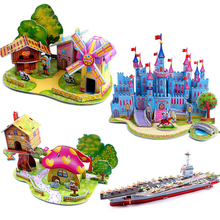 3D DIY Puzzle Education Learning Jigsaw Baby Toy Kid Early Learning Castle Construction Patterns Children Gift Houses Puzzle