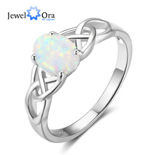 New Women 925 Sterling Silver Ring with Elliptical Blue Opal Wedding Bands Romantic Style Jewelry Gifts ( JewelOra RI102814)(China)