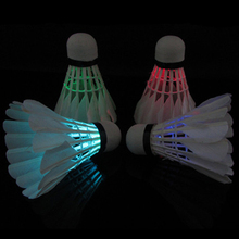 4Pcs/lot Colorful LED Badminton Shuttlecock Dark Night Glow Birdies Lighting Badminton Ball Indoor Sports Flash Colors
