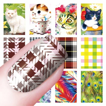 YZWLE 1 Sheet Optional Cat Feacher Lattice Pattern Nail Sticker Water Decals Nail Art Water Transfer Stickers For Nails