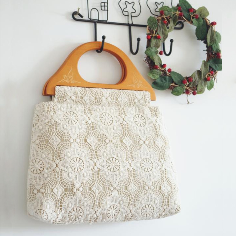 Haute Couture Handmade Bag Chemical Lace and Water Soluble Lace Handbag White Women Tote Wooden Handle Purse Double Side Flower(China (Mainland))