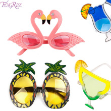 FENGRISE Beach Party Novelty Fruit Pineapple Sunglasses Flamingo Party Decoration Hawaiian Funny Glasses Eyewear Event Supplies(China)
