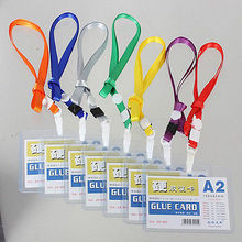 Clear A2 ID Card Note Holder Cases Bag With Lanyardt Neck Strap For School Office Supplies Random Color HOT 1Pcs(China)