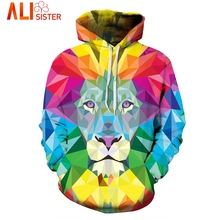 Alisister Watercolor Colorful Lion Hoodies Men Sweatshirt Male 3d Print Harajuku Moletom Unisex Tracksuit Dropship Clothing(China)