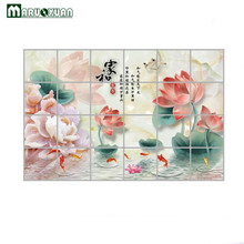MARUOXUAN 2017 New 60*90cm Lotus Goldfish Kitchen Wall Stickers Foil Oil Decal Home Decor Waterproof Art Accessories Decoration(China)