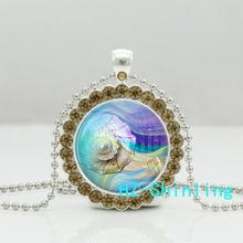 New Sea Shell Fantasy Necklace Sea Shell Pendant Jewelry Silver Crystal Pendant Necklace Ball Chain
