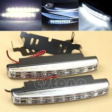 New 2Pcs Car Daytime Running Lights 8 LED DRL Daylight Kit Super White 12V DC Head Lamp-PY