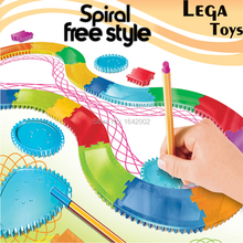 Spiral Rail frame drawing Toy Creative free style spiral designs made easy Spirograph Patterns Art Eduactional toys set(China)