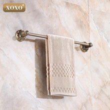 XOXO Wall Mounted Antique Brass single Towel Bars Art Carved Style Bathroom Towel Hanger bathroom accessories 15024B(China)
