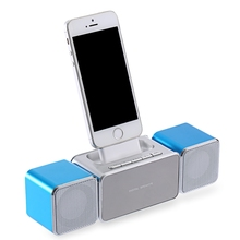 XKD12 Portable Home Car Speaker Support FM TF Card AUX USB Input with Dock Station for iPhone