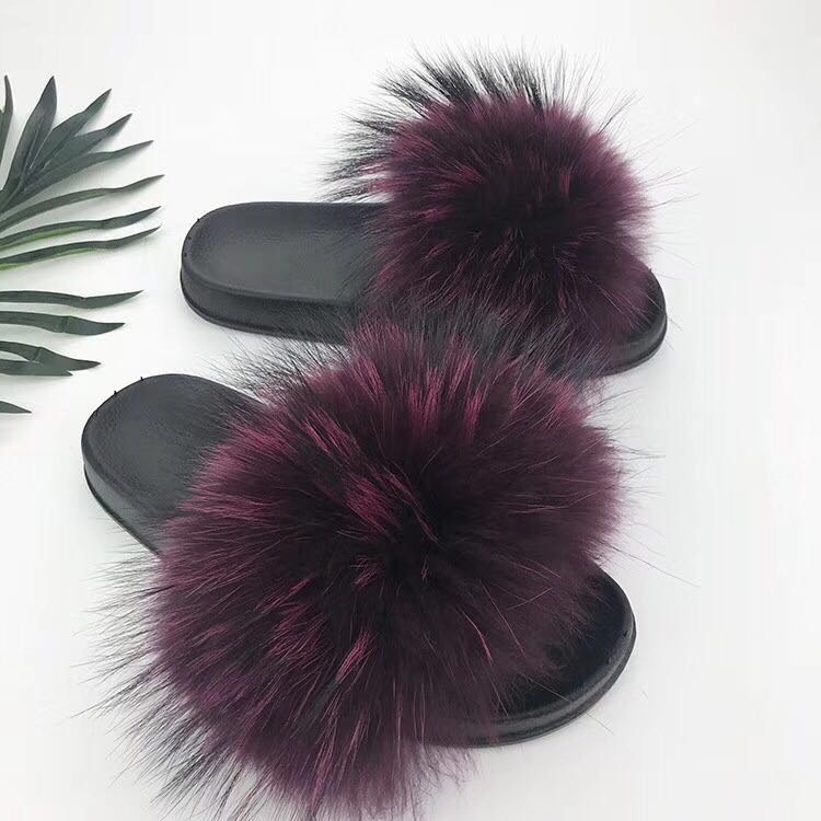raccoon fur slippers purple (2)