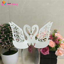 50pcs Laser Cut Love Swan Wine Glass Card Paper Cup Card Wedding Favors Wedding Decoration Event Party Supplies Party Gifts(China)