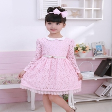 2016 Retail Baby girl clothes Lace spring dresses kids clothes girl party dress long sleeve dress print Cute 100% cotton A101
