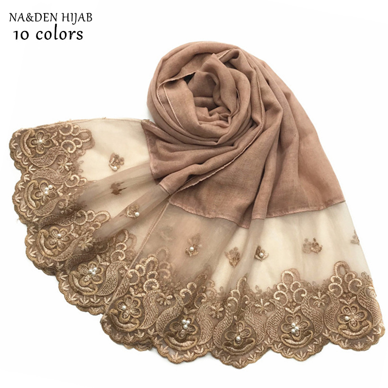 NEW embroidery plain hijab scarf pearl fashion muslim hijabs solid women scarves and shawls islamic scarfs luxury design