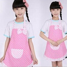 Cotton Toddlers Kid Girls Apro  Baking Children Party Kitchen Cook Waterproof  Princess Apron Dot  Pink Dresses