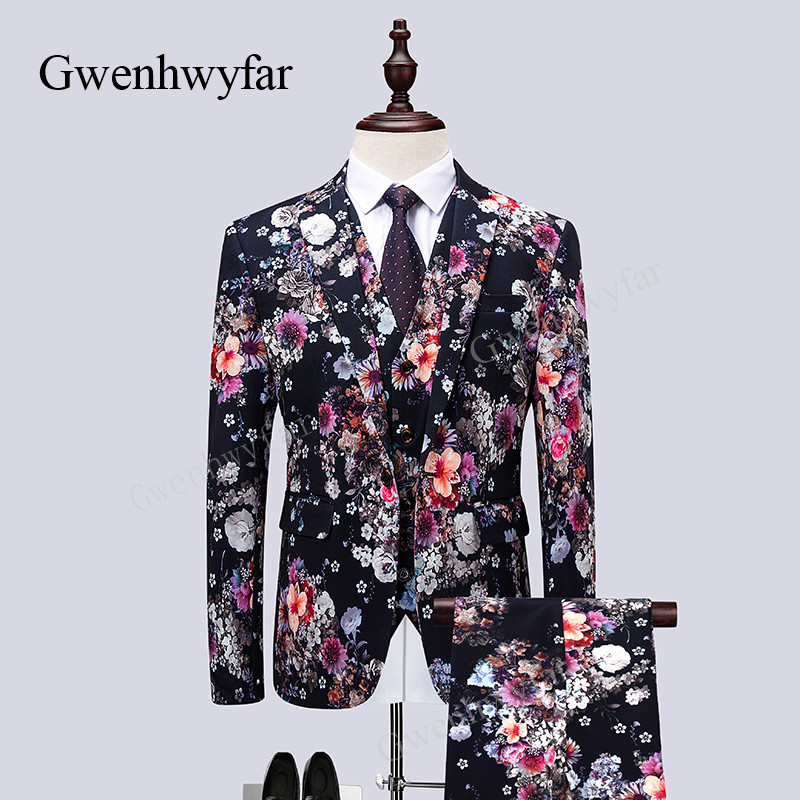 Gwenhwyfar New Arrival 3 Pieces Colorful Floral Pattern Slim Fit Mens Suits With Pants Vest Wedding Groom Tuxedo Singer Costume