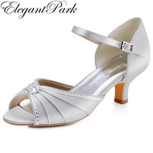 Summer Woman mid heel wedding bridal shoes silver peep toe buckle satin lady bride bridesmaid prom party dress sandals HP1623S(China)