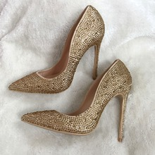 Free shipping real pic champagne stone gold crystal pointed toe women lady hot sale 120mm high heel evening party wedding shoes(China)