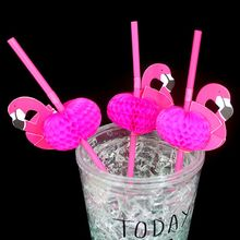 10 pcs Flamingo/Umbrella/Fruit Paper Drinking Water Straws Striped Birthday Party Wedding Decoration Summer Party Supplies
