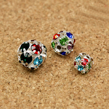 High Quality 6mm 8mm 10mm 50pcs Round Random Mixed Color Metal Base Rhinestone Loose Ball Beads for DIY Shamballa charm Bracelet