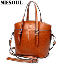 Women's Genuine Leather Handbag Luxury Vintage Shoulder Bags For Ladies Crossbody Tote Burgundy Small Bucket Bag Fashion Brand(China)