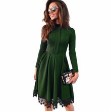Hot 2017 Autumn Winter New Fashion Women Vintage Long Sleeve lace patchwork Slim Maxi Dresses Party Dresses plus size(China)