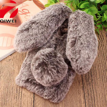 For Fundas Xiaomi Redmi 3S Case Cute 3D Rabbit Doll Plush Cover For Girls Hairy Fur bunny xiomi Redmi 3 S Pro 3Pro Phone Cases(China)