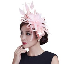 2015 women champagne ribbon Bow Fascinators sinamay and wedding feather fascinator hats 7colors(China)